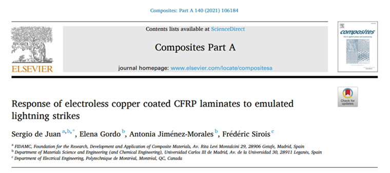 Response of electroless copper coated CFRP laminates to emulated lightning strikes