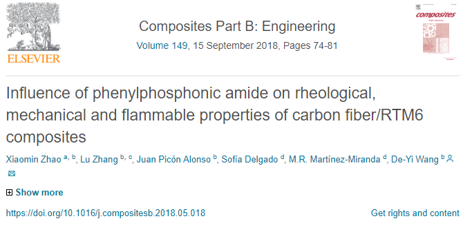 Influence of phenylphosphonic amide on rheological, mechanical and flammabre properties of carbon fiber / RTM6 composites